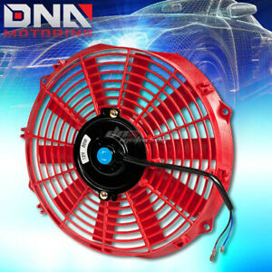 12 12v Electric Slim Push Pull Red Engine Bay Cooling Radiator Fan Mounting Kit
