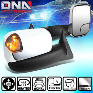 For 1998 2002 Dodge Ram Truck Power Smoke Signal Led Chrome Towing Side Mirror