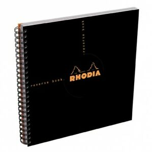 Rhodia Wirebound Reverse Notebook Black Graph 8 25 X 8 25 New R193609