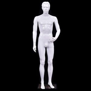 Male Mannequin Full Body Dress Form Display Plastic Shiny White W Base New