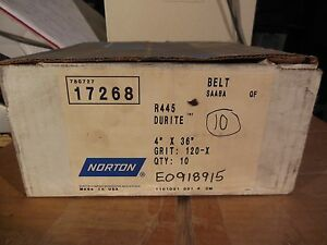 Norton 17268 R445 Durite 4 X 36 Sanding Belts 120 Grit 10 box