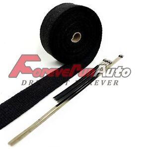 Exhaust Pipe Header Wrap 2 X 50 Black With Ties Fiberglass Car Motorcycle