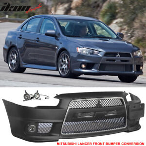 Fits 08 15 Lancer Evo Front Bumper Cover Conversion Front Grille Fog Cover 2pc