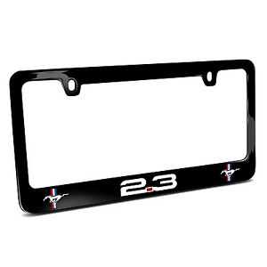 Ford Mustang 2 3l Ecoboost Dual Logo Black Metal License Plate Frame Made In Usa