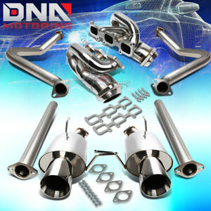 Shorty Header Manifold Dual 4 Rolled Tip Catback Exhaust Fit 11 14 Mustang 3 7