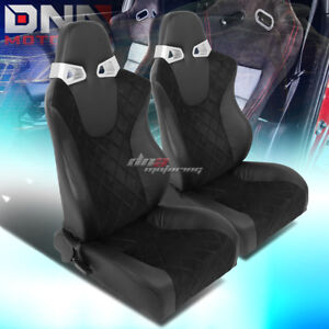 2 X Square Pattern Black Sports Racing Seats Mounting Slider Rails Left Right