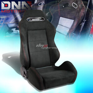 Black Type R Suede Reclinable Racing Seat Red Stitch Mounting Silder Rail Right