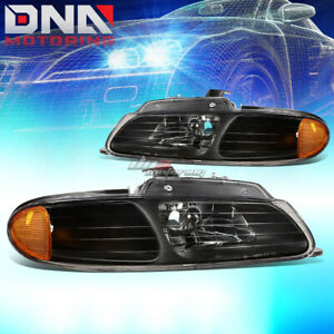 For 96 99 Dodge Caravan voyager Black amber Side Turn Corner Headlamp Headlight