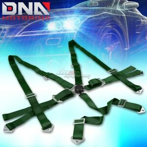 Universal 6 point 3 Green Nylon Strap Harness Safety Camlock Racing Seat Belt