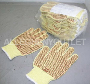72 Pair Heavy Duty Kevlar 10 Cut Resistant Work Gloves Two sided Pvc Dot M L