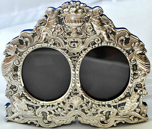 Antique Cherubs Gods And Angels Sterling Silver Picture Photo Frame Signed Jr