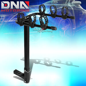 Black Mild Steel Foldable 2 hitch Mount Rear Trailer Bicycle bike Rack Carrier