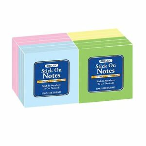 400 3 X 3 Removable Self Stick Pads Stick On Memo Notes 4 Individual Pads
