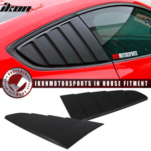 Fits 15 18 Mustang Cv Style Rear Side Quarter Window Louvers Scoops Black Pp