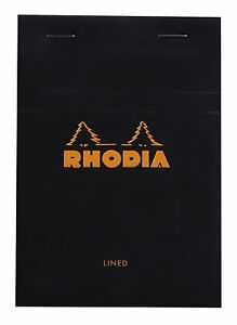 Rhodia Staplebound Notepad Black Lined 80 Sheets 4 X 6 New R136009