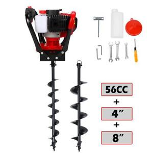 One Man 52cc Gas Powered Earth Machine Post Hole Digger W 4 8 Auger Drill Bit