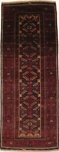 Fantastic Antique Tribal Runner Balouch Persian Rug Oriental Area Carpet 4x11