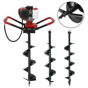 56cc Gas Powered Post Hole Digger Earth Auger Ground Fence Drill 6 8 10 Bit