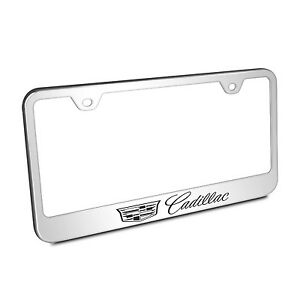 Cadillac Crest Logo Polished Chrome Stainless Steel License Plate Frame