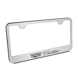 Cadillac Crest Logo Brushed Chrome Stainless Steel License Plate Frame