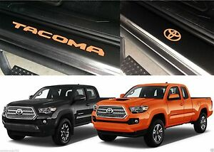 Front Rear Caramel Brown Door Sill Vinyl Inserts 2016 2017 Toyota Tacoma New