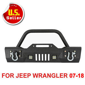 Black Textured Front Bumper 15 With 4 Led Lights Fit 2007 2017 Jeep Wrangler Jk