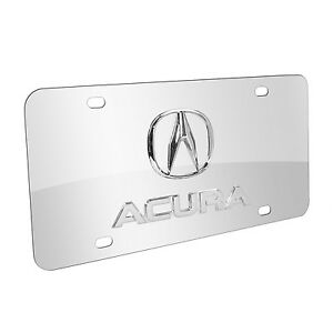 Acura 3d Chrome Logo And Name On Chrome Stainless Steel Metal Auto License Plate