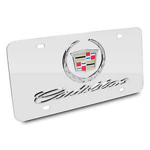 Cadillac 3d Logo And Name On Chrome Stainless Steel Metal Auto License Plate