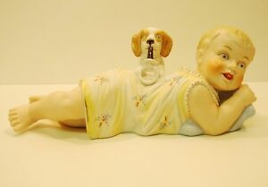 Figurine Statue Dog Baby Piano Baby Art Deco Style Art Nouveau Style Porcelain B