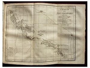 1807 Solomon Islands New Georgia Early Map Discovery Voyage