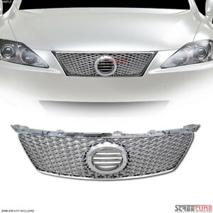 06 08 Lexus Is250 Is350 Chrome Is F Style Mesh Front Grill Grille W Emblem Base