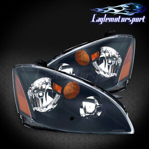For 2002 2003 2004 Nissan Altima Factory Style Replacement Black Headlights Pair