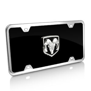 Dodge Ram 3d Logo Black Acrylic License Plate With Chrome Frame Kit
