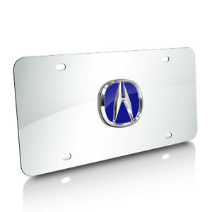 Acura 3d Blue Logo Chrome Stainless Steel Auto License Plate