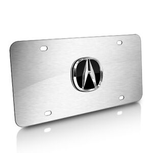Acura 3d Logo Brushed Steel Auto License Plate