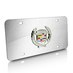 Cadillac Classic Logo On Brushed Stainless Steel License Plate
