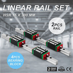 2x 15 300mm Linear Guideway Rail 4x Square Block New Smooth Motion Lathes