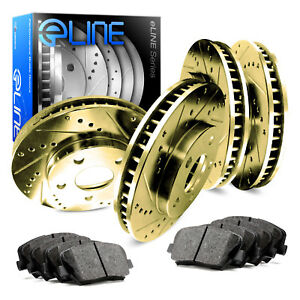 2012 2016 Ford Focus Full Kit Gold Drilled Slotted Brake Rotors