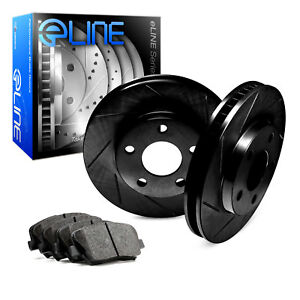 2012 2016 Ford Focus Rear Black Slotted Brake Disc Rotors Ceramic Brake Pads