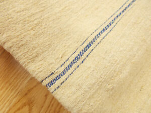 21x54 Vtg Antique Blue Stripe European Hemp Linen Fabric Feed Sack Grain Bag