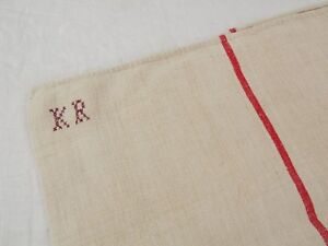 20x42 Vtg Antique Monogram Red Stripe European Hemp Linen Feed Sack Grain Bag