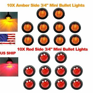 20x Red Amber Mini 12v 3 4 Round Marker Light Clearance 3 Led Bullet Us Ship
