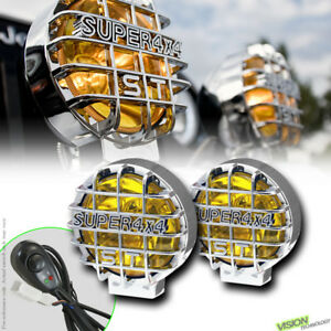 4x4 Off Road 6 Round Yellow Fog Lights Bull Guard Bar Roof Bumper For Ford V4a