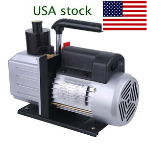 4 8cfm Rotary Vane Vacuum Pump Single Stage Hvac 1 3hp Air Conditioning A c Deep