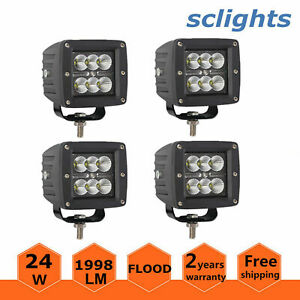 4x 3inch 24w 4x4wd Led Work Light Flood Cube Pods Off Road Boat Atv Lamp Ford