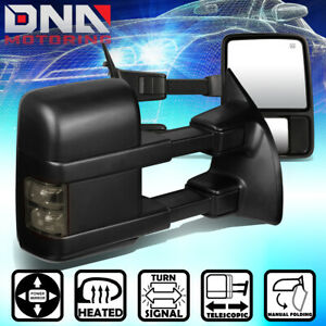 For 1999 2007 Ford F250 Super Duty Power heated smoked Led Signal Towing Mirror