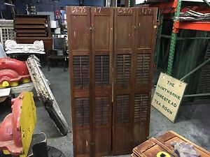 Pair Victorian Tall Pine Interior Window Shutters Old Varnish 63 75 H X 17 W