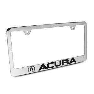 Acura Chrome Metal License Plate Frame With Acura Screw Covers