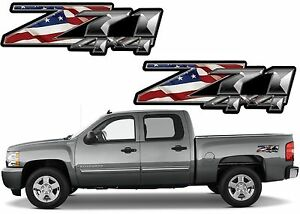 Pair American Flag Z71 Decals For 2007 2013 Silverado Sierra New Free Ship Usa