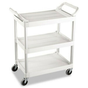 Rubbermaid Commercial 342488owh 200 Lbs 3 shelf Service Cart Off White New